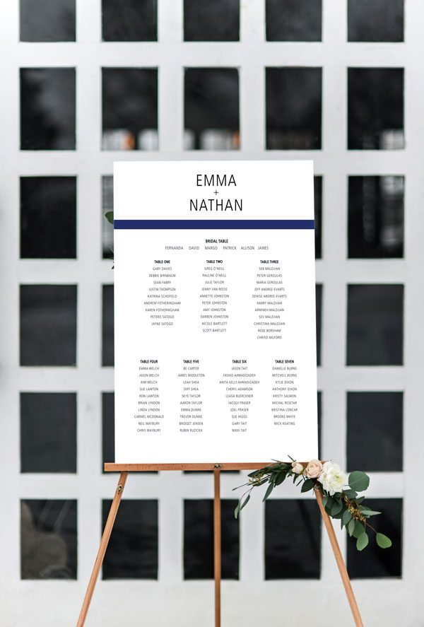 Simple Stripe Navy Seating Chart 600x887