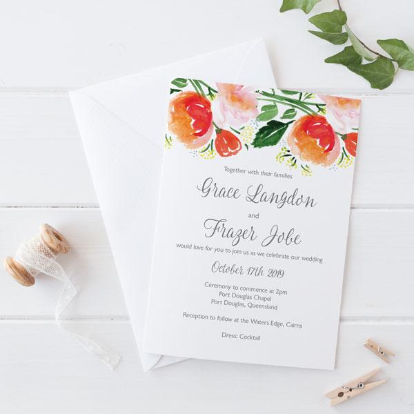 watercolour peach invitation Wedding Invitations Cairns Qld watercolour flowers in peach wedding invitation wedding invitations cairns qld