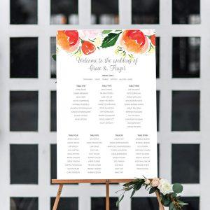 Watercolour Peach Flower Seating Chart