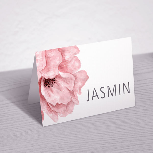 Blush pink flower place card