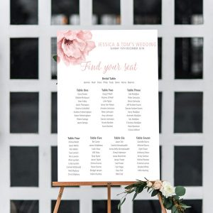 Blush pink flower seating chart