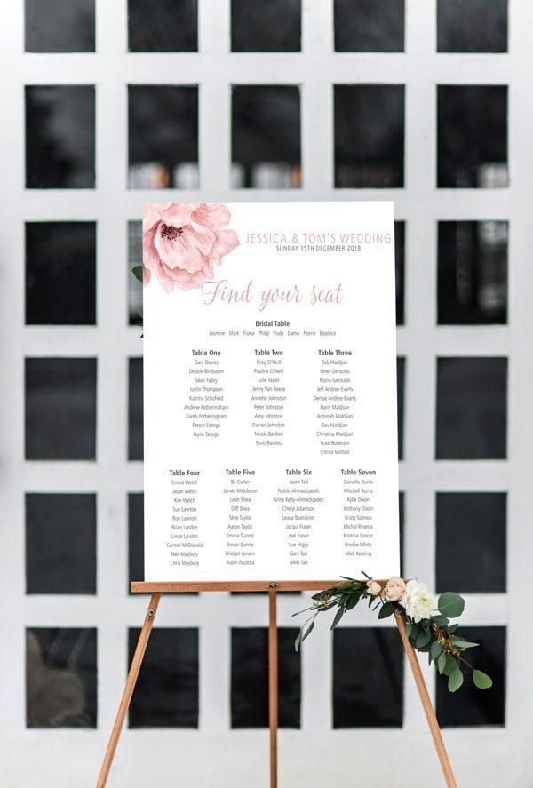 Blush pink flower seating chart