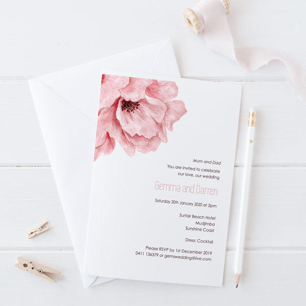 Floral Wedding Invitations.Blush Pink Floral Invitation