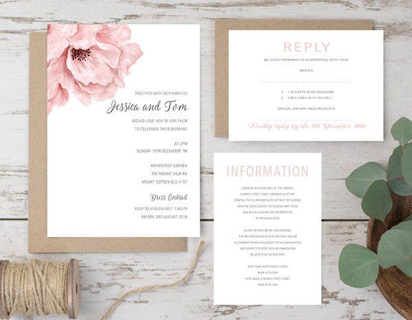Blush pink flower wedding invitation