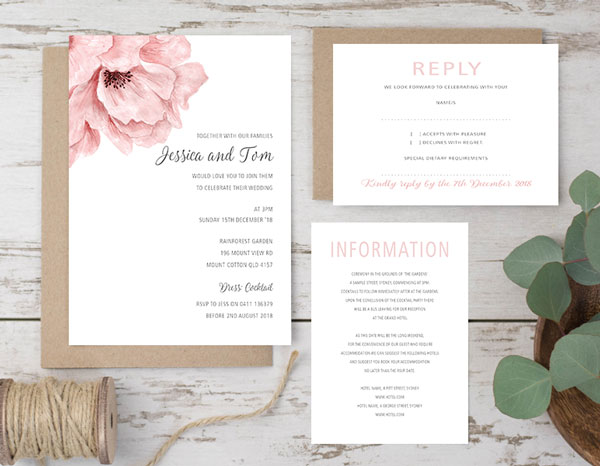 Blush pink flower wedding invitation