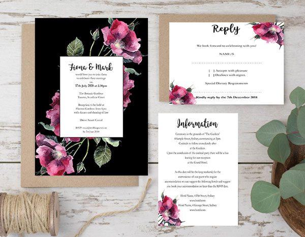 Botanic flower wedding invitation package