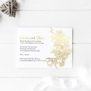 Gold foil hand drawn floral wedding invitation