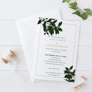 Olive Leaves Wedding Invitation