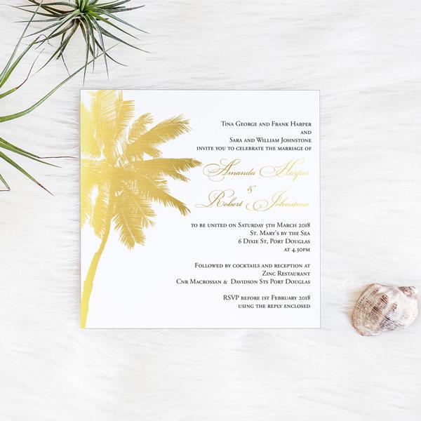 Tropical Beach Palm Tree Foil Wedding Invitation