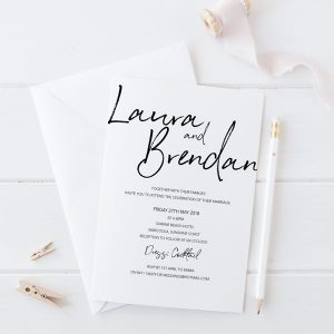 Chalk hand written wedding invitation
