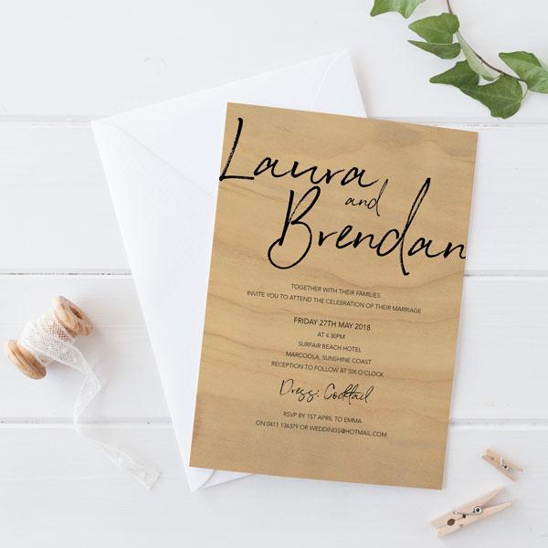 Modern type Wood Printed wedding invitation