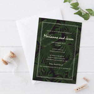 Tropical Palm Tree leaves on a moody dark background Wedding invitation