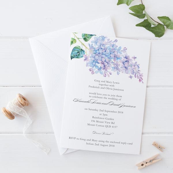 delicate hydrangea invitation