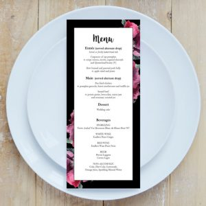 botanic wedding menu printing