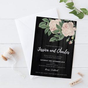 double rose wedding invites
