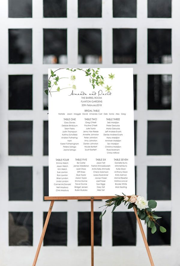 Seating Chart Wedding.Fluttering Seating Chart