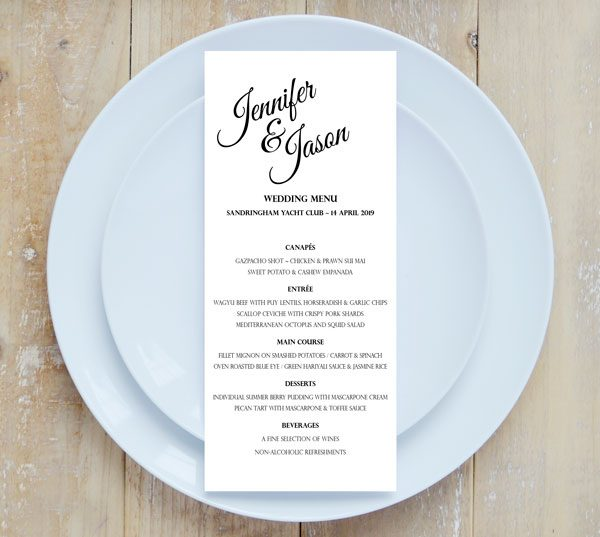 Good vibes elegant wedding menus good vibes menu junglespirit Images