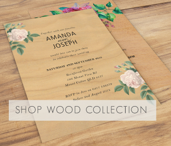 Wood wedding invitation collection