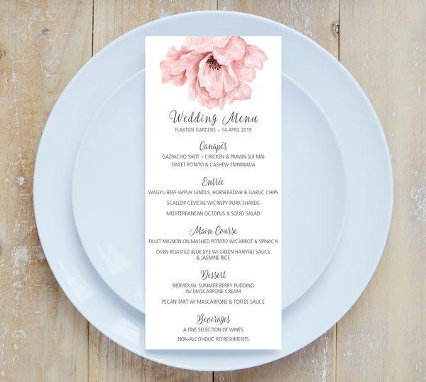 Blush Pink Floral Wedding Menu Only 245 Inviting Weddings