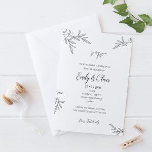 Leafy Love Wedding Invitation Wording