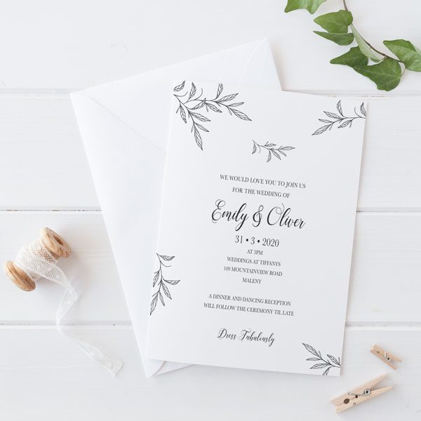 Leafy Love Wedding Invitation Wording