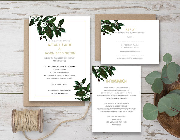 Wedding Invitation Packages.Olive Grove Package