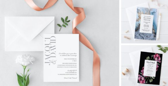 elegant white wedding card with pink stripe